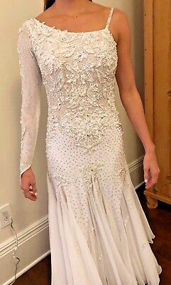 Gorgeous White Smooth Ballroom Dress by Dore Design, Size M/L