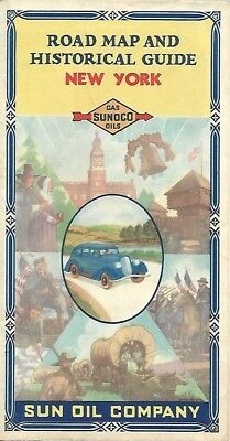 Vintage 1934 SUNOCO Pictorial Road Map NEW YORK Long Island Albany Rand McNally