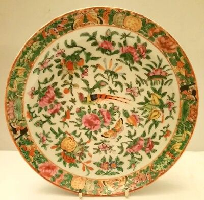 19th Century Chinese Porcelain Canton 9 inch dish/plate.bird & Flowers.Peaches