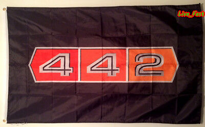 Oldsmobile 442 Flag Banner W 30 Machine F 85 Cutless Muscle Car Poster Man Cave