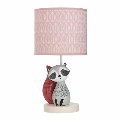 Lambs & Ivy Little Woodland Lamp with Shade & Bulb  -  Gray, Coral, Animals,