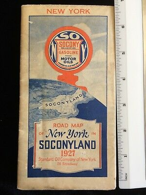 1927 SOCONY Motor Oils Gasoline NEW YORK Road Map SOCONYLAND Standard