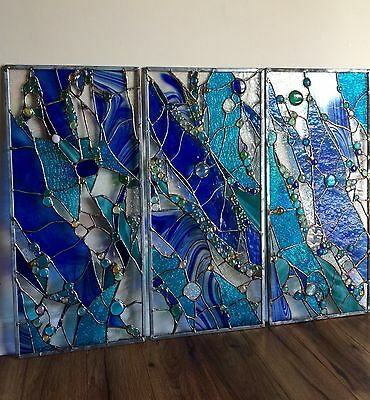 Abstract Stained Glass Window Transom Panel  Contemporary  ( Set of 3)