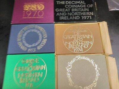 1970 - 1976 Coinage of Great Britain and N. Ireland Proof sets 6 Sets in all!
