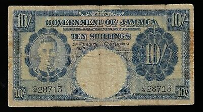 1939 Jamaica 10 Shilling Pic# 38a