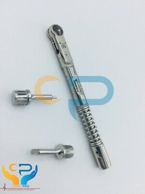 Universal Dental Implant Torque Wrench Ratchet 10-40 Ncm With Drivers.