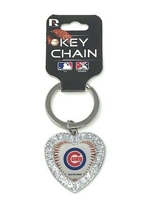 Chicago Cubs Keychain Rhinestone Heart Women's MLB Bling Key Ring New Free Shipp