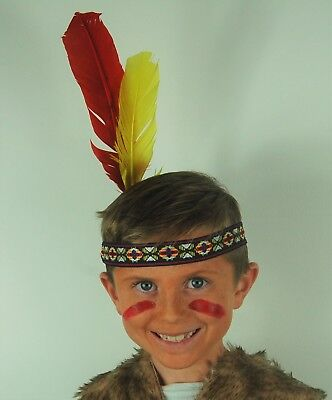 UK Disp Native Red Indian Girl/'s Fancy Dress Woven Headband with Two Feathers