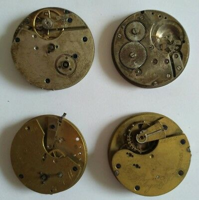 Lot of 4 Antique Pocket Watch Movements - Russell, Bancroft, Joyce - Spares