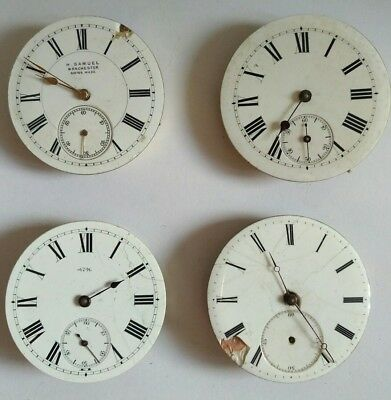 Lot of 4 Antique Pocket Watch Movements - For Spares or Repair