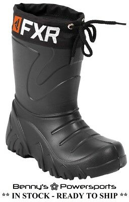 FXR Youth Svalbard Snowmobile Boots Black Kids Waterproof Winter Snow Sled