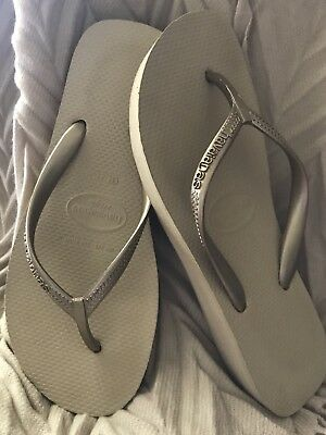 4bae194c0c44 HAVAIANAS HIGH FLIP Flop Wedge Women s Sandal Swarovski Crystal Gray ...
