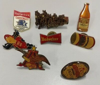 Vintage Anheuser Busch Budweiser Beer Clydesdales Hat Eagle Budman Can PIN Lot