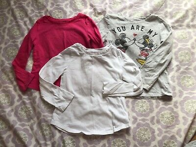 Old Navy Toddler Girl Size 4T Long Sleeve Shirt Tshirt Top Lot White Pink Mickey