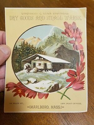 Ryan Brothers Dry Goods & Small Wares Marlboro, Mass. Victorian Trade Card