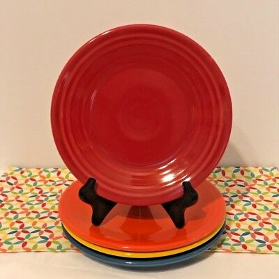 Fiestaware Lunch Plates Lot of 4 Multi Color Bold Brights Fiesta 9 in Luncheon