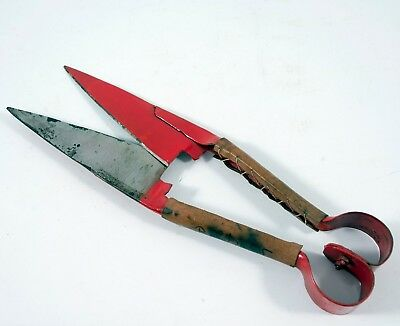 Pair of Vintage Red Blade & Handled Sheep Shears with Leather Handle Covers