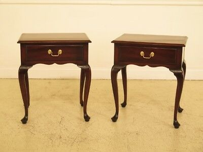 F44980EC: Pair KITTINGER Queen Anne Mahogany 1 Drawer Nightstands