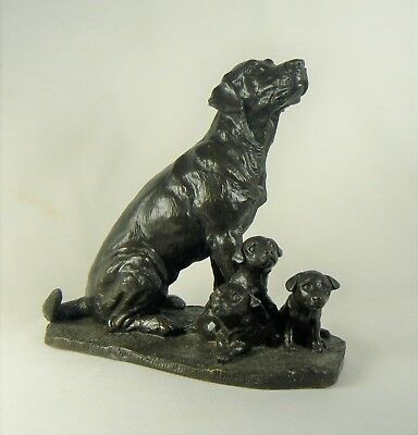 """Jean Spouse Heredities"""" Labrador With Puppies"""" Bronzed Finish Resin Dog Figurine"""