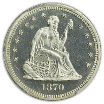 1870 Seated Liberty Quarter PCGS Proof PF 65 CAM Cameo - Beautiful type coin