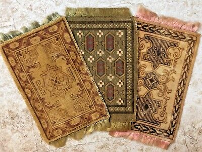 Three Antique Miniature Dollhouse Silk Fringe Advertising Rugs 1940s Soft Colors