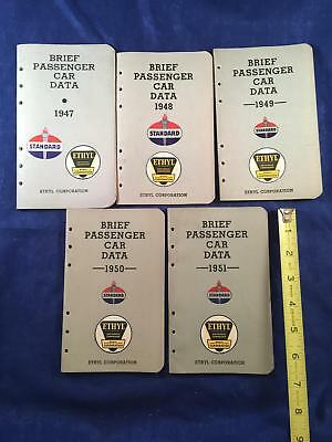 Vintage Standard Oil & Gas Passenger Car Data Book Lot 1947 1948 1949 1950 1951