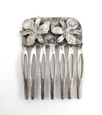 Vintage Sterling Silver Hair Comb Floral Design Hair Jewelry .925 Accessory