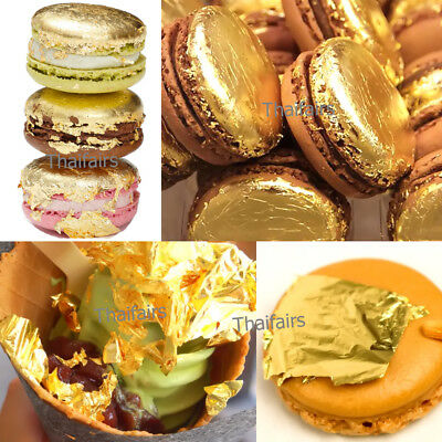 24K Edible Gold Leaf Sheets REAL PURE 100% 24 Karats NO BASE METALS, etc.