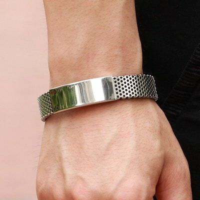 Fashion Silver Stainless Steel Black Leather Cuff Bangle Mens Wristband Bracelet