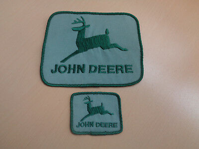 "2 Mint Matching Vintage John Deere Advertising Patches 6.5"" Large One"