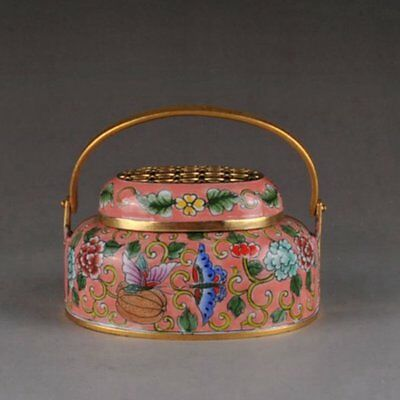 Old China handmade bronze Cloisonne hollow out lid portable Heater Statues