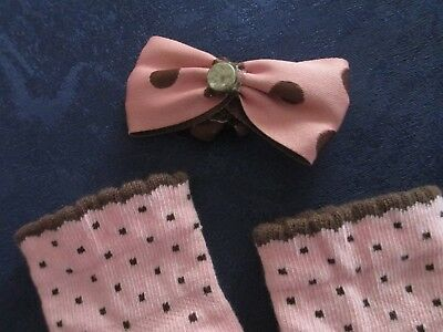 """Pair Of Socks & Matching Hair Bow By """"gymboree"""" To Suit Reborn Doll"""