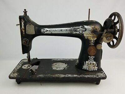 1919 Antique Singer Sewing machine Silver ornate Untested Parts Repair