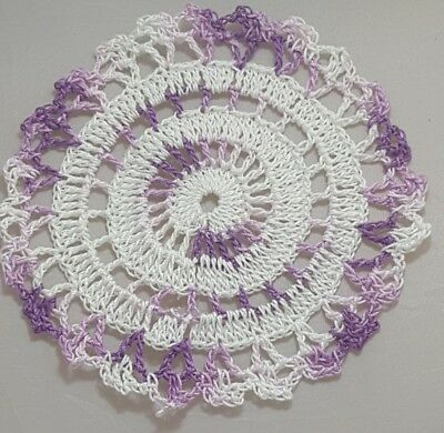 White in  Shady Purple Bumblebee doily Approximately 5 Inches.