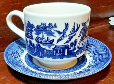Churchill England Vintage Blue Willow Tea Cup And Saucer Set - 7 Sets Available