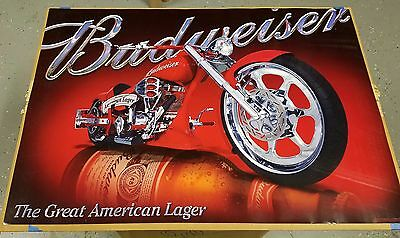 BRAND NEW Lot of 3 Budweiser Beer Red Harley Sturgis Chopper Motorcycle Posters
