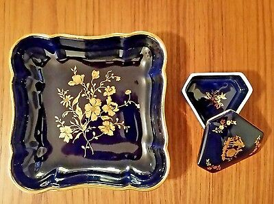 Pair of Cobalt Blue Limoges France Items, Triangle Trinket Box and Square Dish