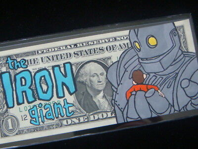 Hand Painted The Iron Giant Real U.s.a Tender Money Dollar Bill Art Work - Hobo