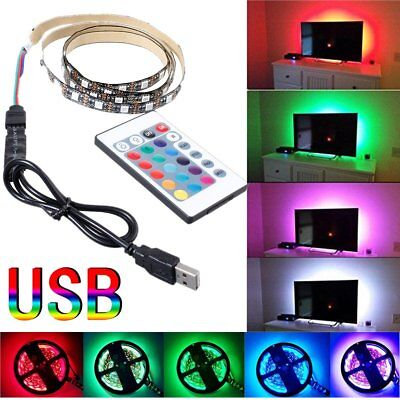 DC 5V USB RGB 5050 60SMD/M LED Strip Light TV Back Lighting Kit+ Remote Control
