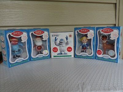 Rudolph 50Th Anniversary. Set Of 5 Talking Figurines Nib. With Bumble The Yeti.