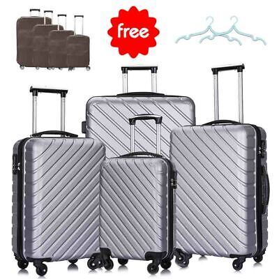 4PCS Hard Shell Luggage Set Travel ABS Bag Trolley Spinner Business Case Beige