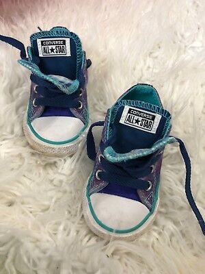 converse all star chuck taylor  5c infant girls blue purple double Tongue