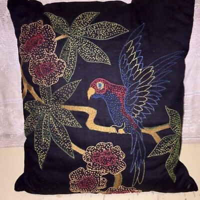 Antique Victorian Era Hand Embroidered Parrot Pillow Throw Decorative