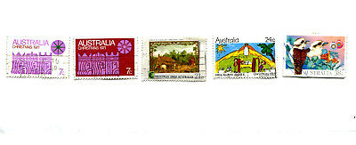 AUSTRALIA used stamps on paper - various beautiful CHRISTMAS theme stamps (5)