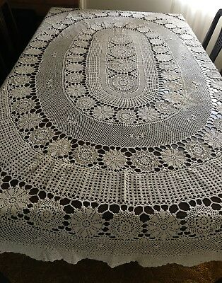 CROCHET 2 Table Cloths, Creme, Round & Oval Beige Tablecloths  - Lovely Con