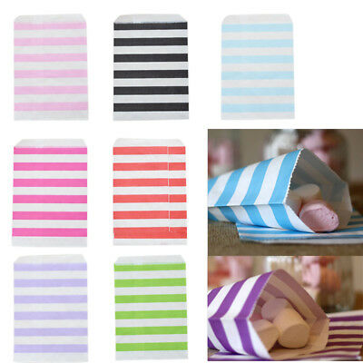 12pcs Candy Stripe Paper Bags Sweet Favour Buffet Gift Sweets Cake Party Wedding