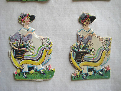 Vintage/Antique Lovely Lady Diecut Victorian Scrap 10 pcs