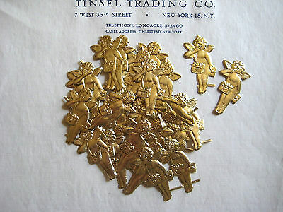 30 pcs Vintage/Antique Gold Cupid Dresden Diecut Victorian Scrap Valentines