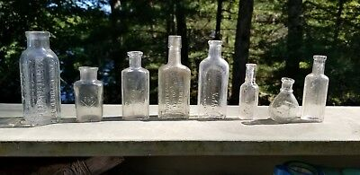 Lot of 8 vintage small drug store bottles