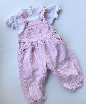 Vtg Oshkosh Baby Bgosh Overalls 12M Pink Stripes Conductor Bubble Romper Outfit